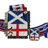 874 mile lands end silver red and blue virtual running medal