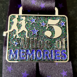 purple glitter running challenge 5 miles virtual race medal