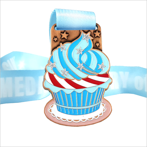 run for cake virtual running medal blue glitter