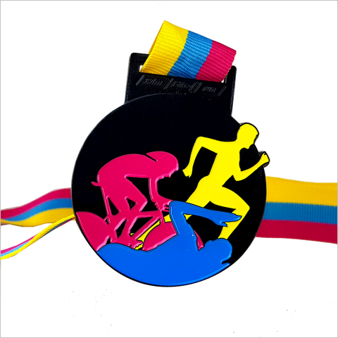 red yellow blue black medal virtual triathlon