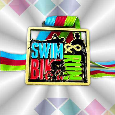 antique gold and colour square triathlon virtual race medal