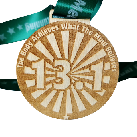 half marathon virtual race wooden medal