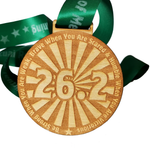 marathon wooden virtual running medal