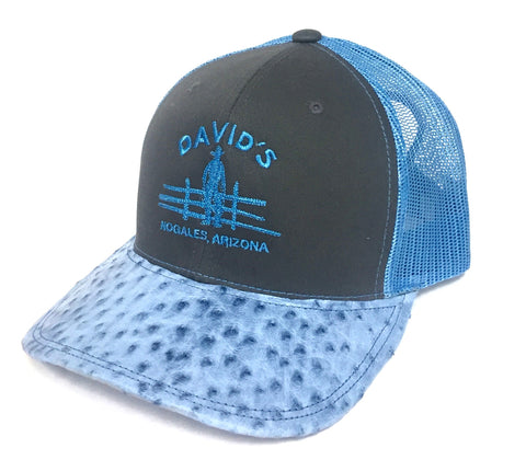 Charcoal/Neon blue cap with light blue half quill ostrich visor