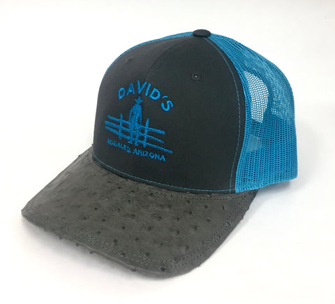 Charcoal/Neon blue cap with serpentine half quill ostrich visor