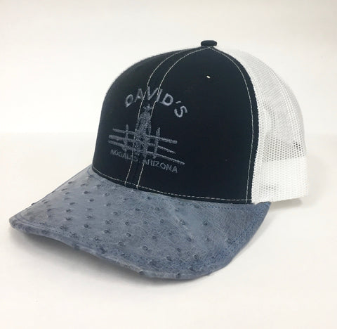 Navy/White cap with denim b half quill ostrich visor