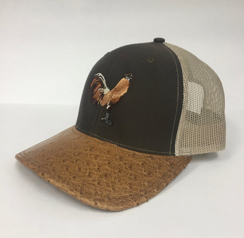 Brown/khaki cap with antique saddle md half quill ostrich visor (rooster design)