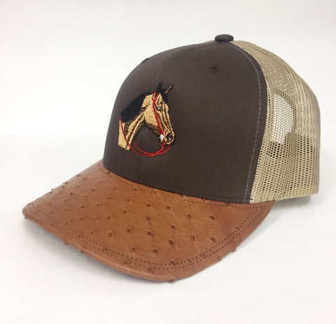 Brown/khaki cap with brandy md half quill ostrich visor (horse head design)