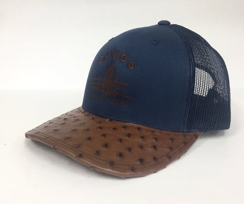 Navy cap with mango tabac cc full quill ostrich visor