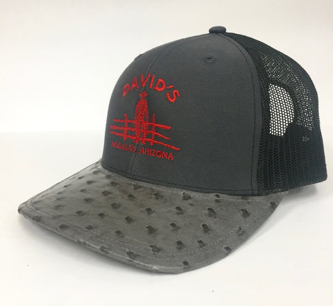 Charcoal/Black cap with serpentine cc full quill ostrich visor