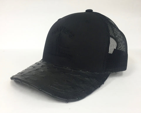 Black cap with Black Full Quill ostrich visor