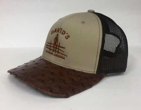 khaki/Coffee cap with kango tabac cc full quill ostrich visor