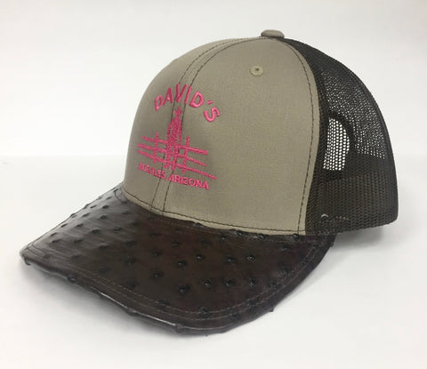 Khaki/Coffee cap with nicotine full quill ostrich visor