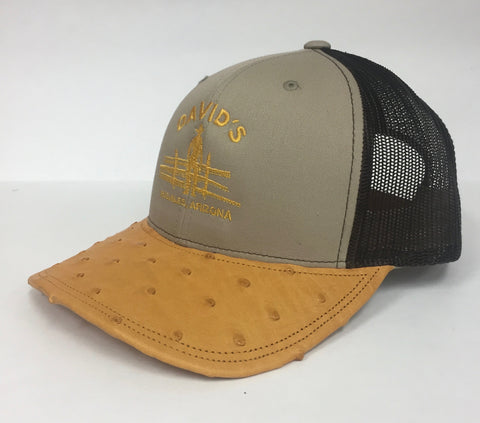 Khaki/Coffee cap with buttercup full quill ostrich visor