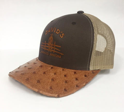 Brown/khaki cap with brandy cc full quill ostrich visor