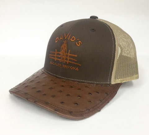 Brown/Beige cap with kango tabac full quill ostrich visor