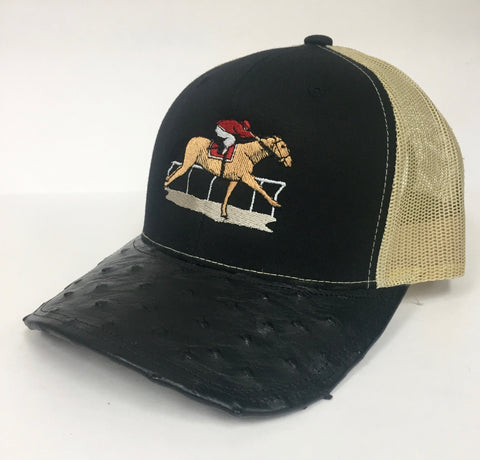 Black/ Vegas Gold cap with black full quill ostrich visor