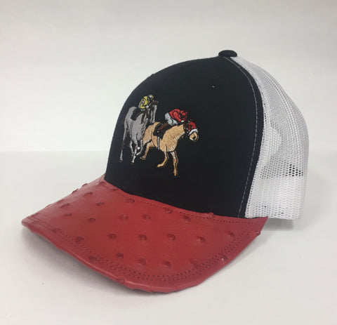 Black/White cap with red full quill ostrich visor
