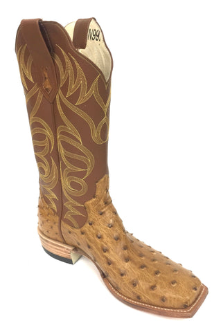 Full Quill Antique Saddle CC Ostrich Boot