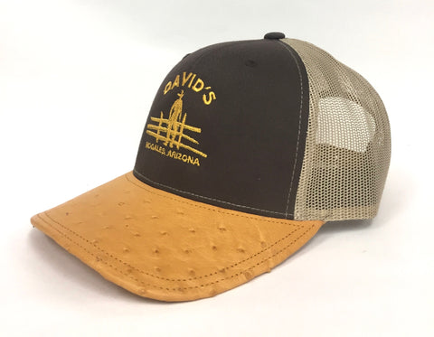 Brown/Khaki cap with buttercup half quill ostrich visor