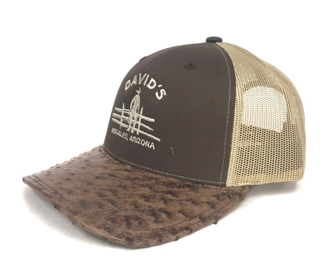 Brown/Khaki cap with kango tabac b half quill ostrich visor