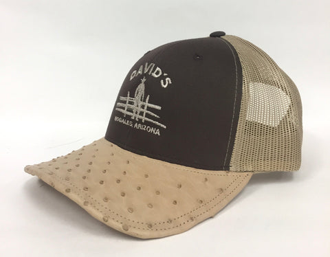 Brown/Khaki cap with Oryx half quill ostrich visor