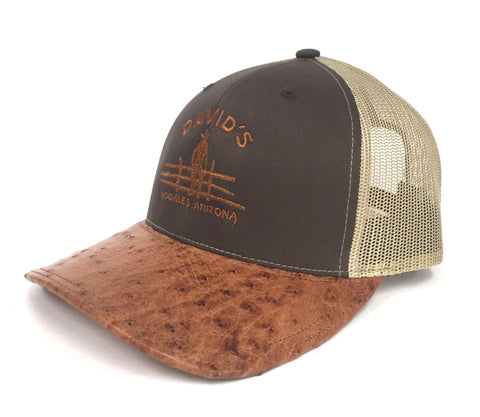 Brown/Khaki cap with brandy md half quill ostrich visor