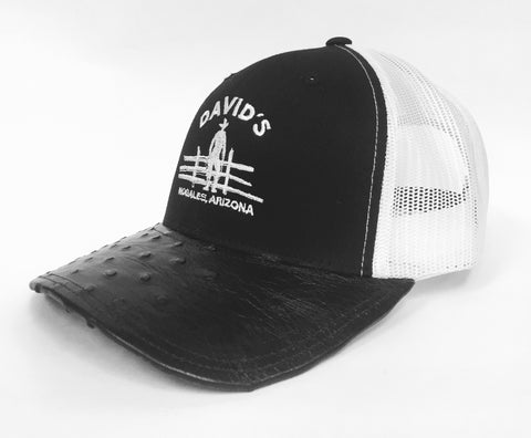 Black/white cap with black half quill ostrich visor