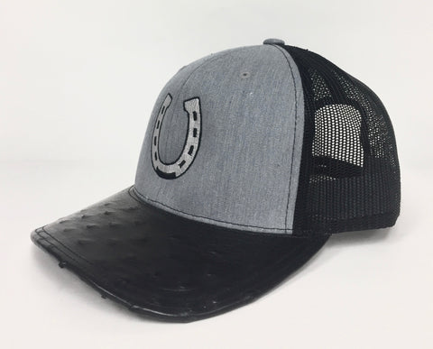 Heather Grey/Black cap with black half quill visor (horseshoe design)