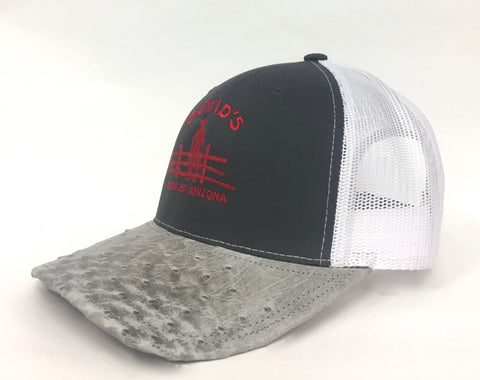 Charcoal/white cap with light mist b half quill ostrich visor
