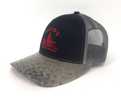 Black/Charcoal cap with serpentine cc half quill ostrich visor