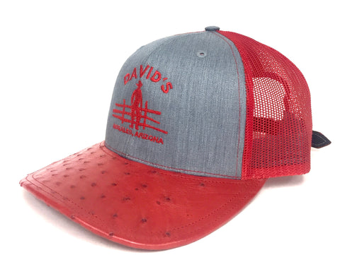 Heather Grey/Red cap with red half quill ostrich visor