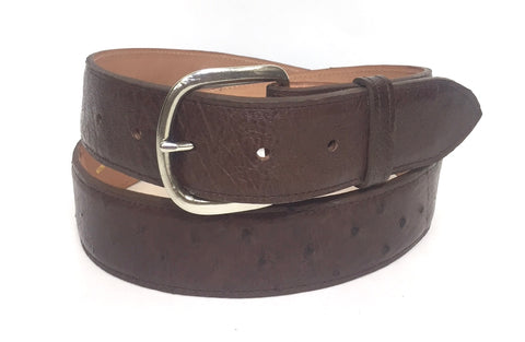 Smooth ostrich skin belt