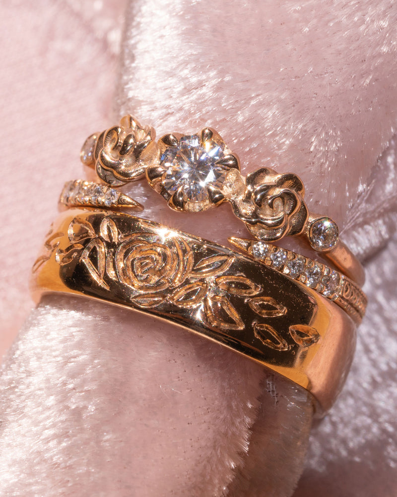 Rose Burst Band Ring in 14K Fine Gold