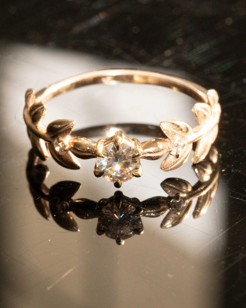 Baby Goddess 14K Yellow Gold Ring in Moissanite