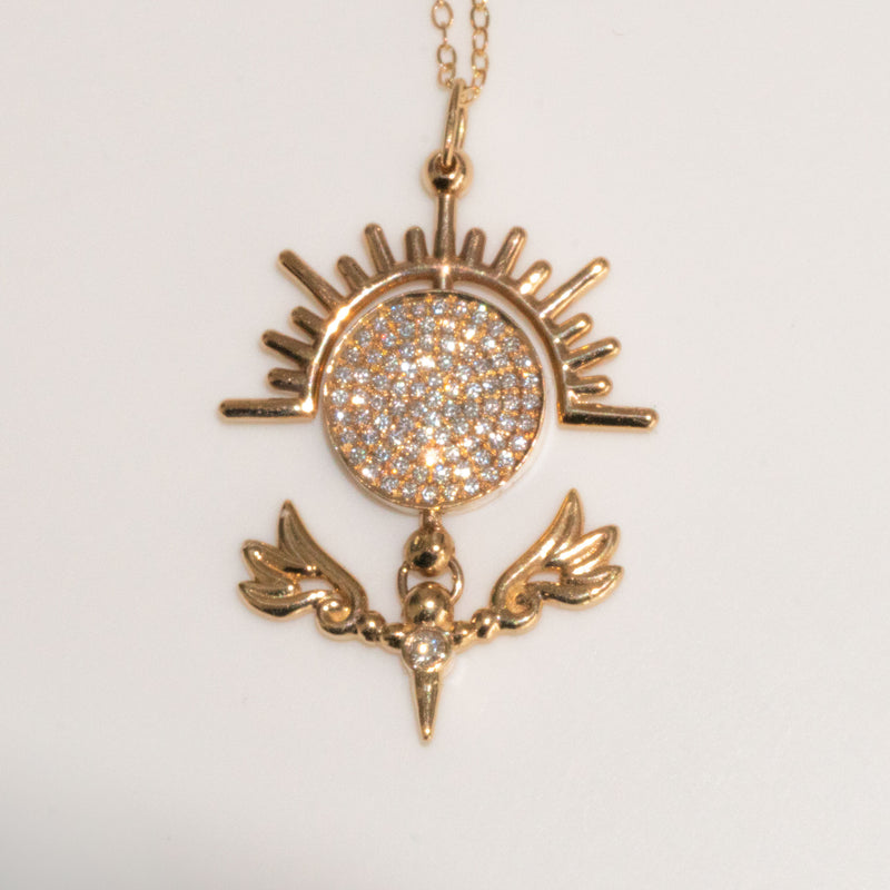 Daydream Talisman Pendant Necklace in Pave White Diamond and 14K Yellow Gold