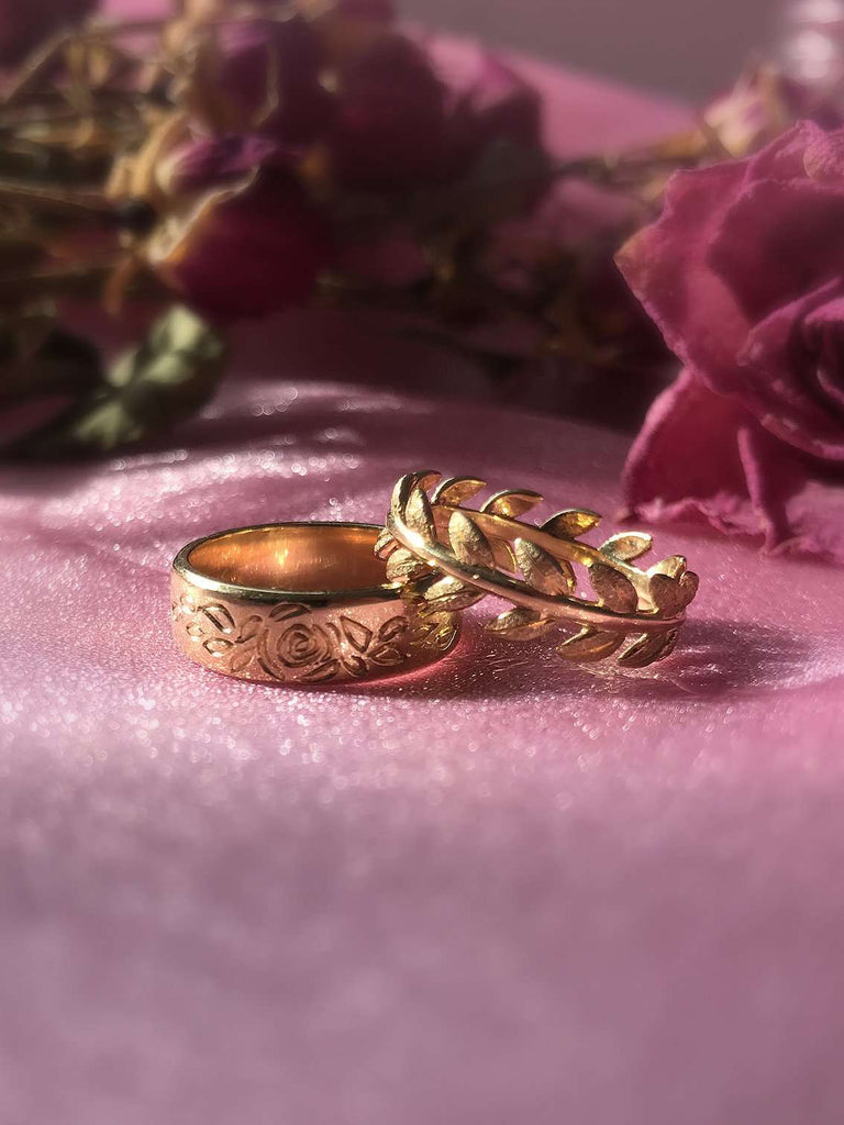 Eternity Band Laurel Leaf Ring in 14K Fine Gold