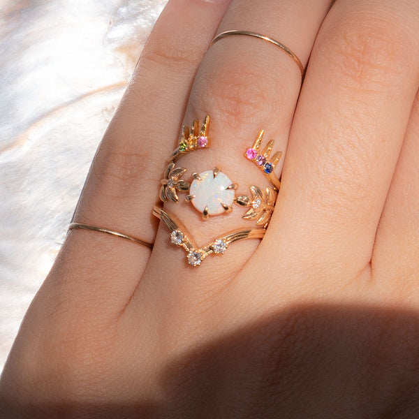 Goddess 14K Yellow Gold Ring in Opal