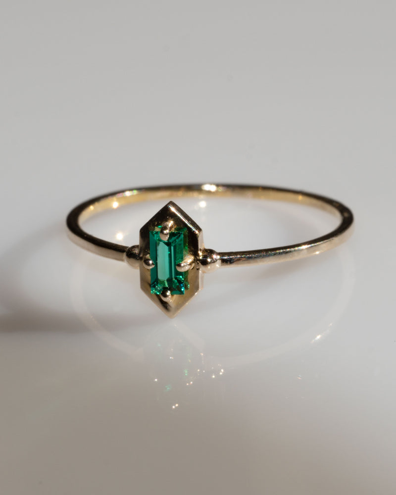 *PRE-ORDER ONLY* Lucky Elixir 14K Yellow Gold Ring in Green Emerald