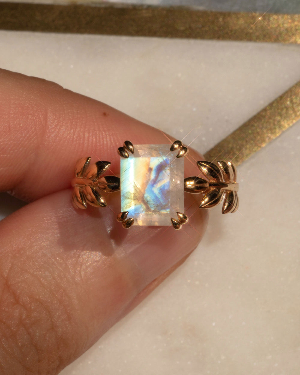 Moon Goddess 14K Yellow Gold Ring in Moonstone