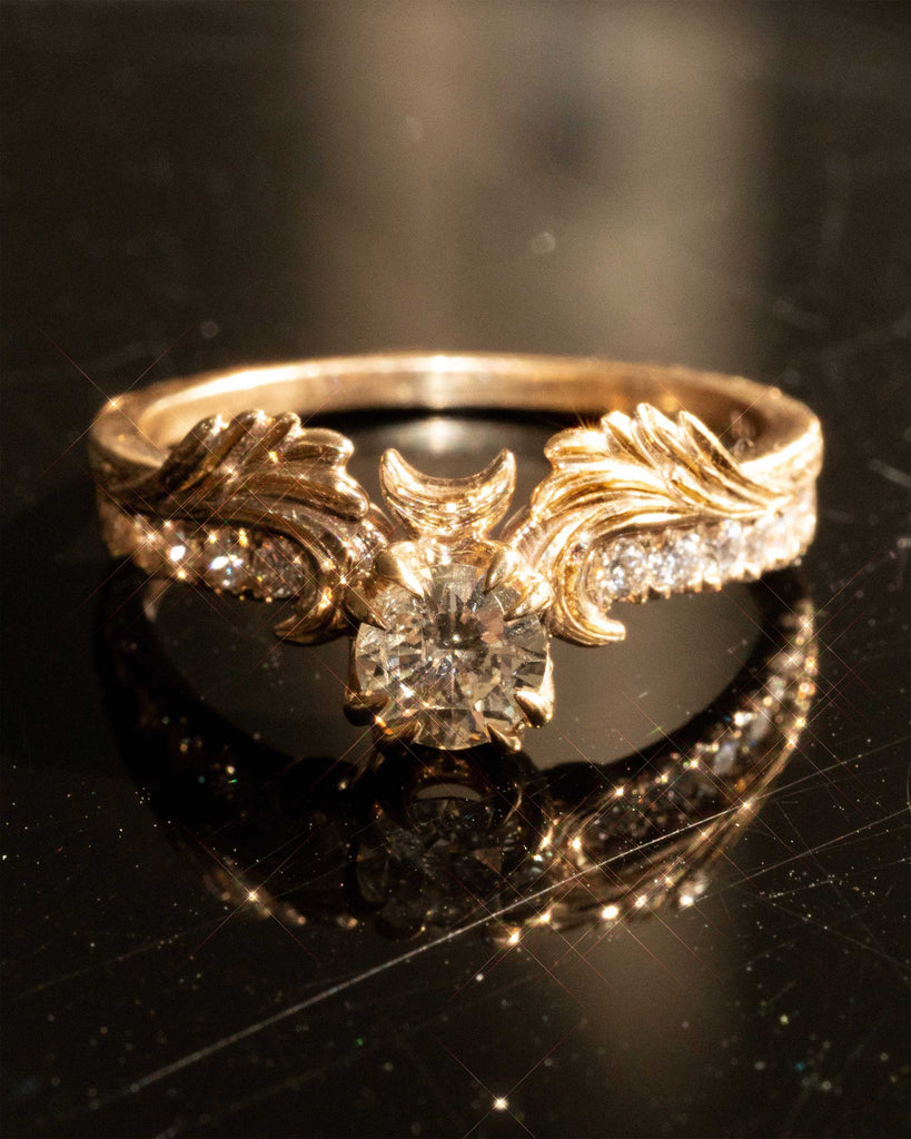 Phantom Guardian 14K Fine Gold Ring in White Diamond Moon Wings Ring