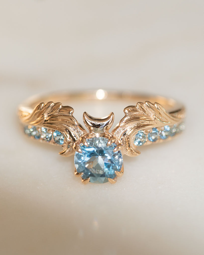 Phantom Guardian Aquamarine 14K Fine Gold Moon Wings Ring
