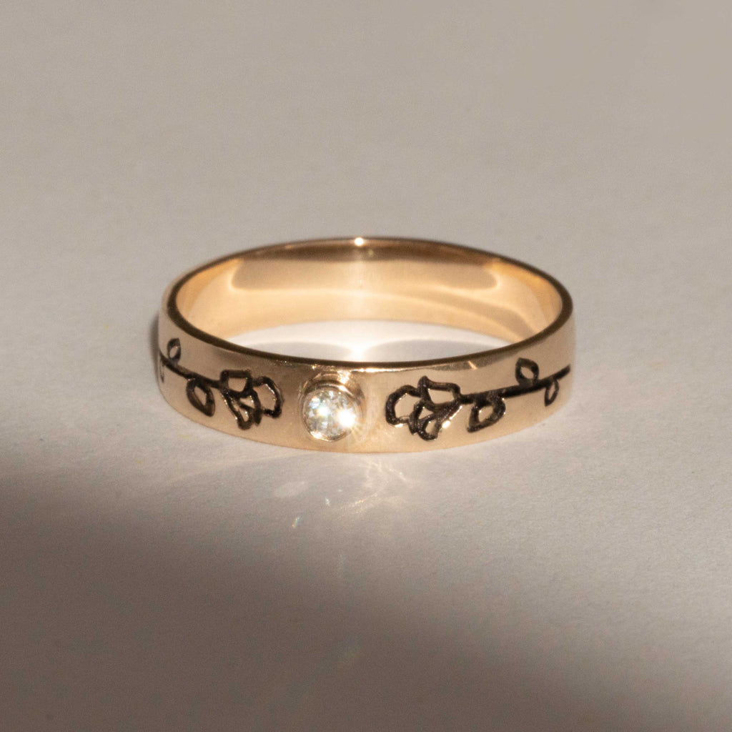 Rose Duet 14K Yellow Gold Band Ring in Diamond