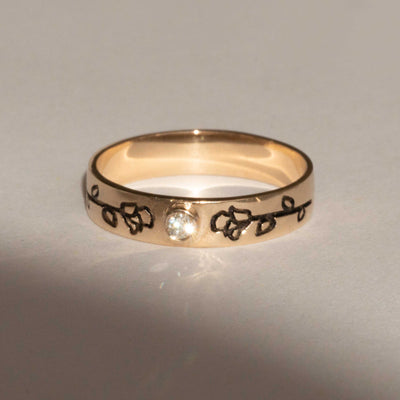 Rose Duet 14K Yellow Gold Band Ring in Diamond or Birthstone