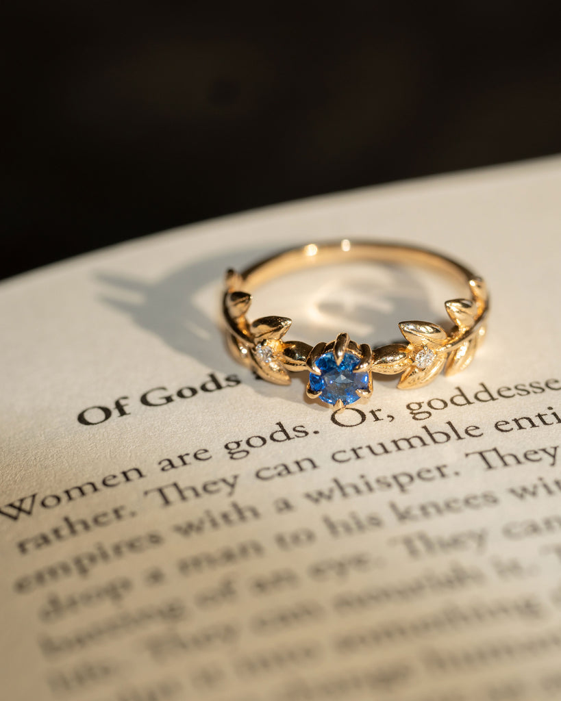 Royal Baby Goddess Ring in Deep Blue Sapphire and White Diamonds