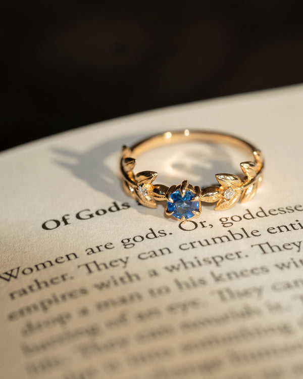 Royal Baby Goddess Ring in Ceylon Blue Sapphire and White Diamonds