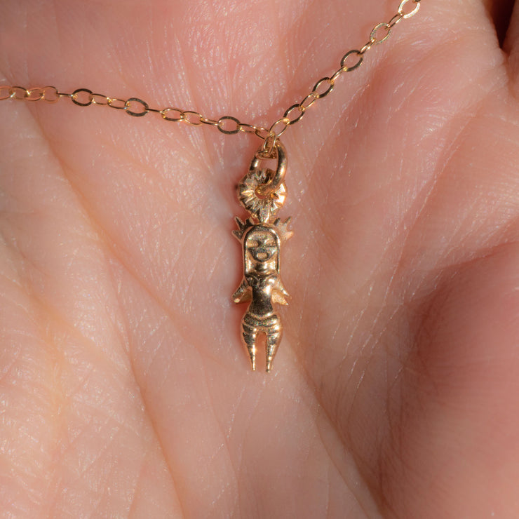 Smol Warrior Pendant Necklace in 14K Yellow Gold
