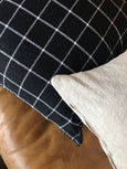 Linen Black & White Check Pillow Cover - SAMUEL - Studio Pillows