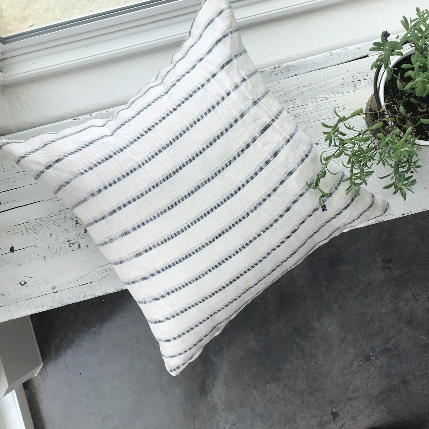 Linen Stripe Blue - OSBORNE - Studio Pillows