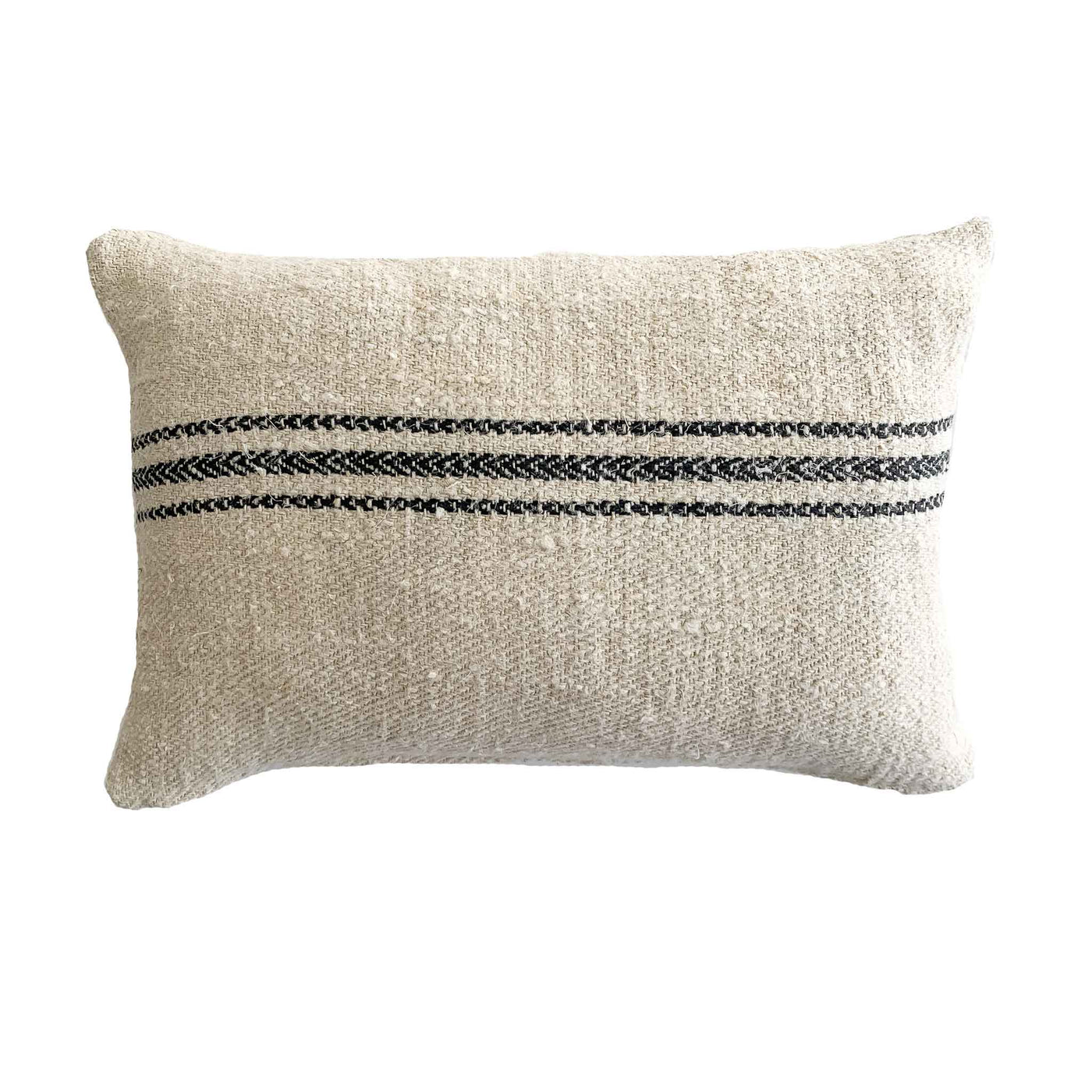 14x20 Antique Grain Sack With Black Stripes - Studio Pillows